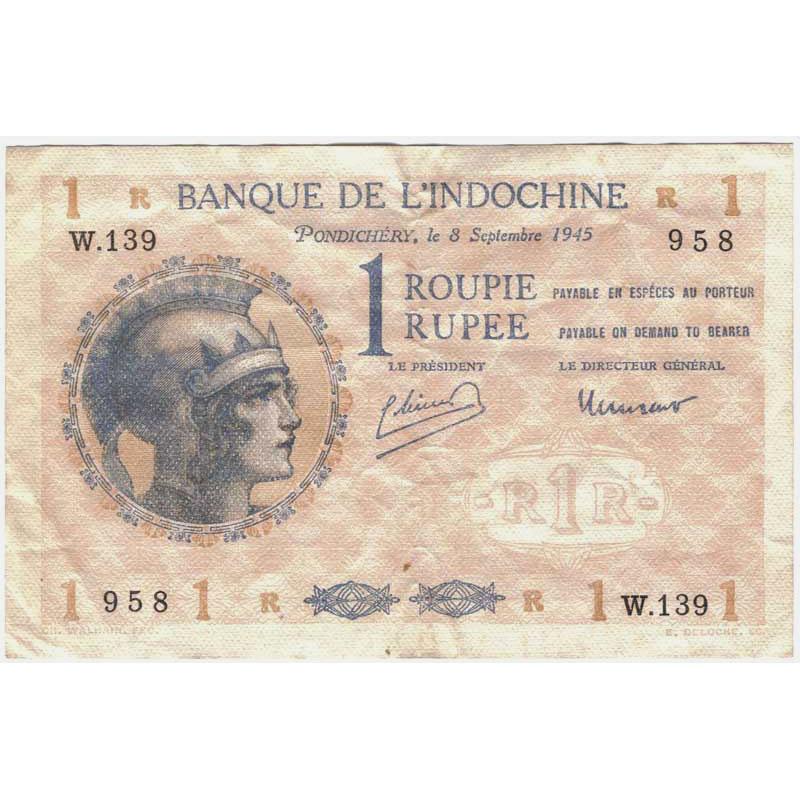 Inde Comptoirs Français De Linde 1 Roupie Pondichéry 8 Septembre