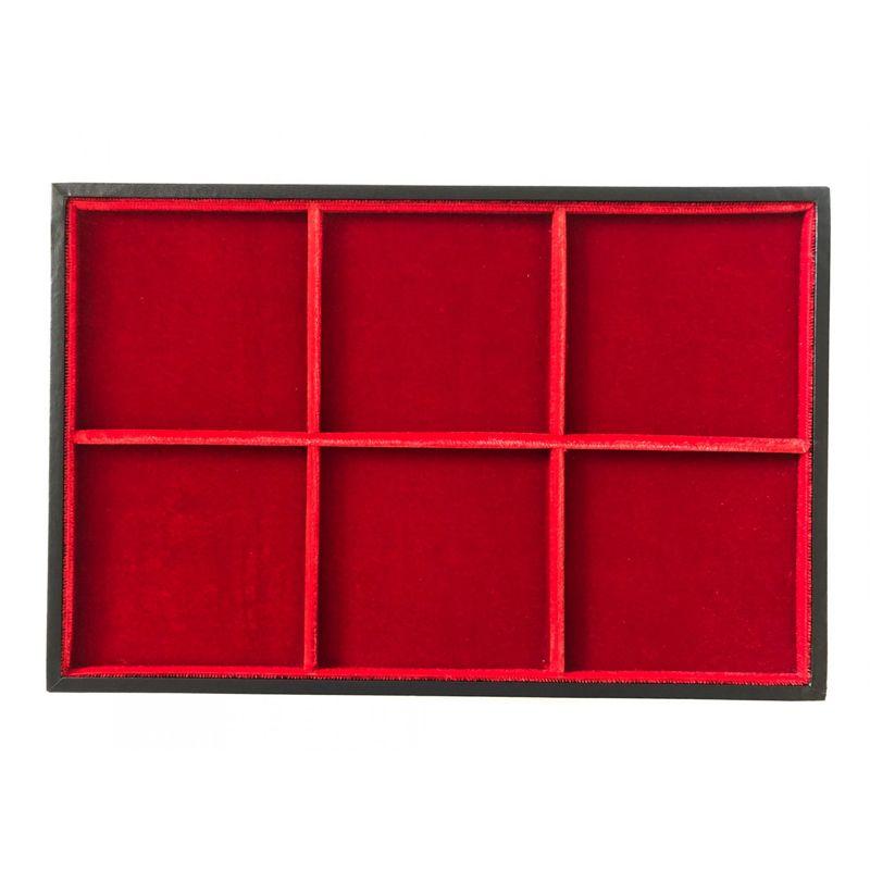 Plateau Standard en bois et velours   6 cases - 95 mm