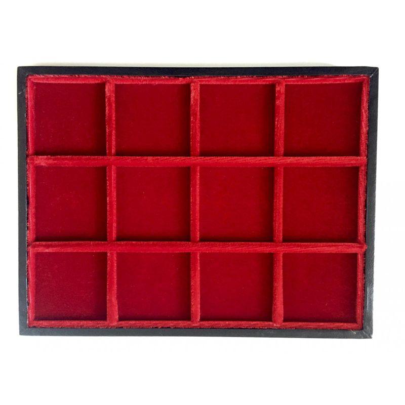 Plateau Minibring en bois et velours   12 cases - 45 mm