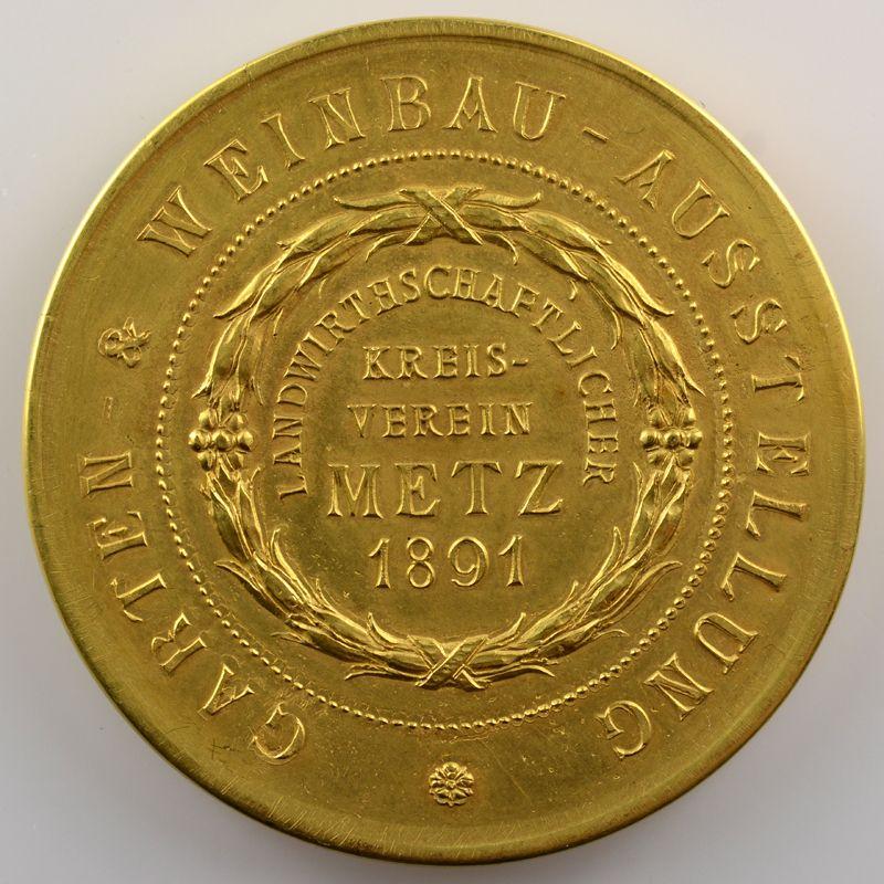 Médaille en or   40mm   Exposition horticole et viticole   Metz   1891    TTB+/SUP
