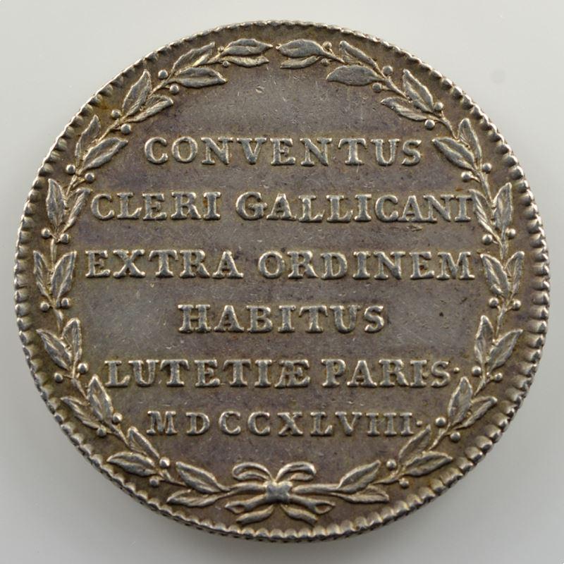 jeton rond en argent   30mm   Assemblées du Clergé   1748    TTB+