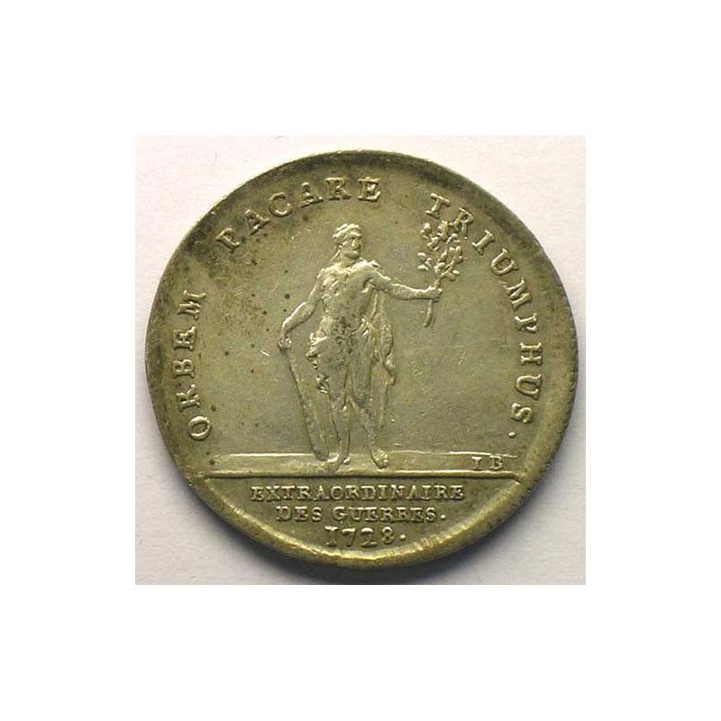 jeton rond en argent   Louis XV   1728    TTB