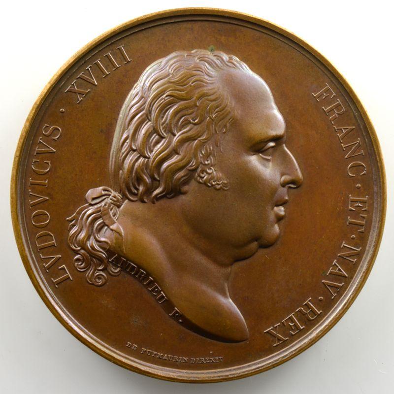 Andrieu/Amédée Durand   Bronze   50mm   1815   Translation des restes de Louis XVI et de Marie-Antoinette à Saint-Denis  2 janvier 1815    SUP/FDC