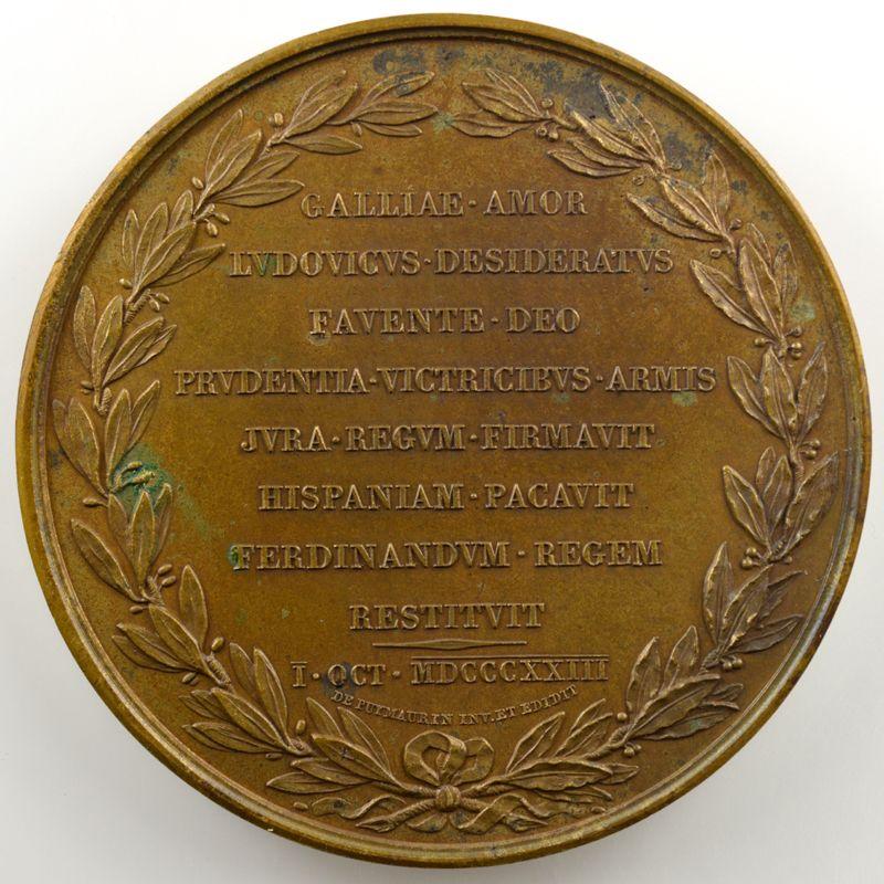 ANDRIEU   Bronze   50mm   1823   Restauration du trône d'Espagne  1er octobre 1823    SUP