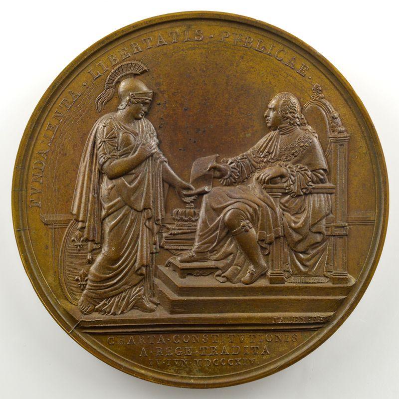 Andrieu/Jaley   Bronze   51mm   1814   Charte Constitutionelle du 4 juin 1814    SUP