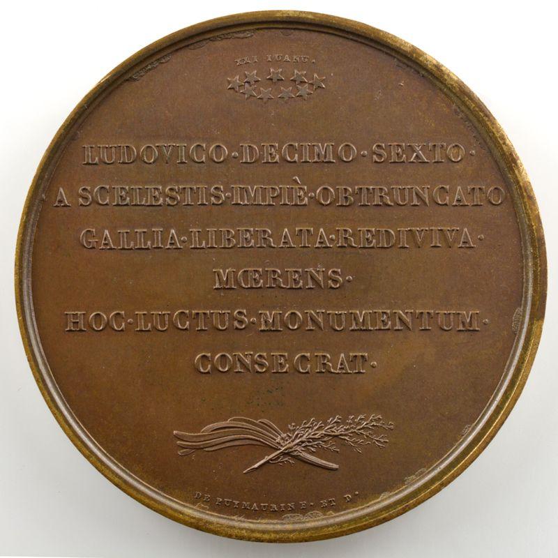 DE PUYMAURIN   Bronze   50mm   1815   Translation des restes de Louis XVI et de Marie-Antoinette à Saint-Denis  21 janvier 1815    SUP/FDC