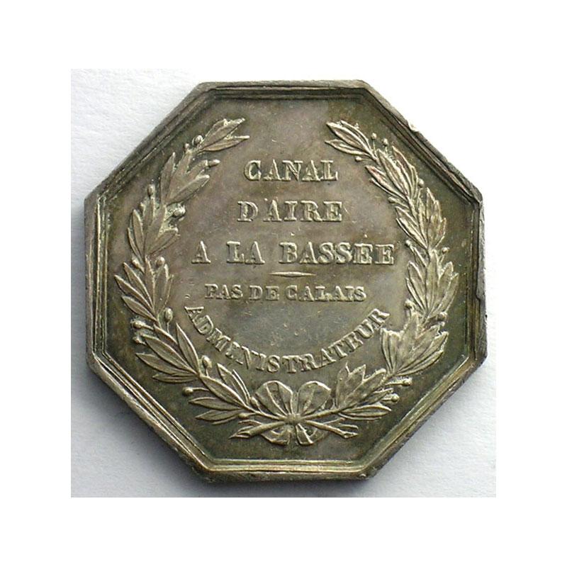 Canal d'Aire à La Bassée (Pas de Calais)   jeton octogonal en argent   1825    SUP