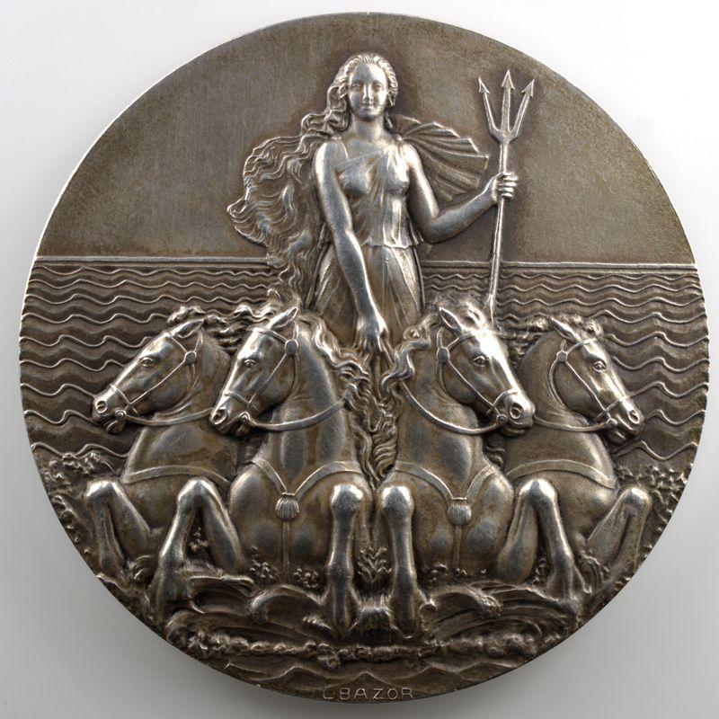 L. BAZOR   Médaille en argent  68mm   Compagnie Maritime des Chargeurs Réunis   1963    SUP