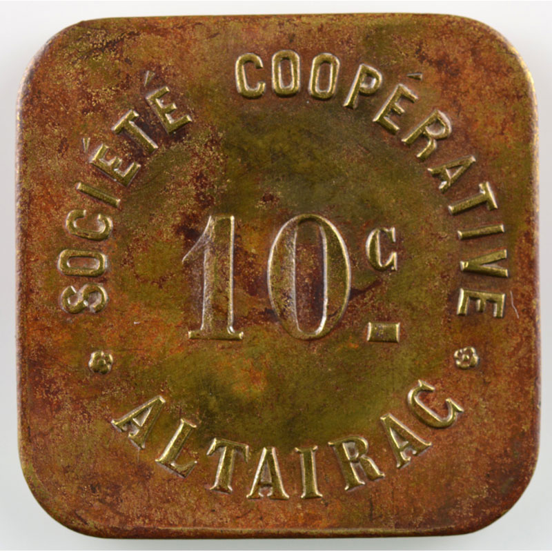 Lec.186b var.   10 c   Lt, carré coins arrondis   23,5mm    TTB