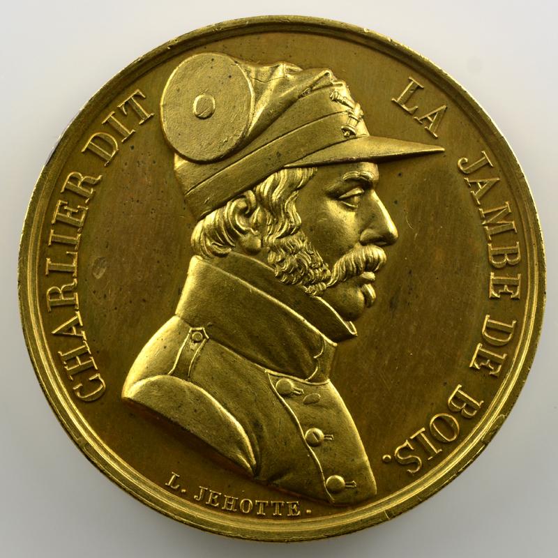 L. Jehotte   Médaille en bronze doré  39mm   Charlier dit la jambe de bois   1830    SUP