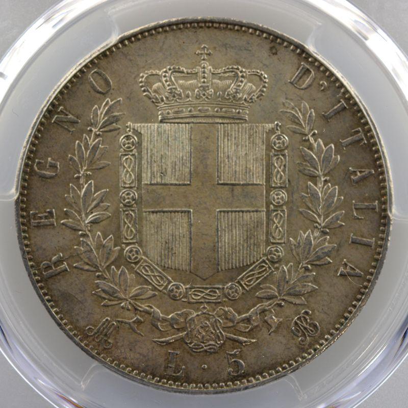5 Lire   1871 M BN  (Milan)    PCGS-MS61    SUP