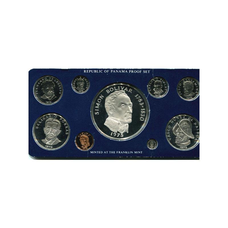 coffret de 9 pièces dont 3 en argent  Proof Set   1975    PROOF