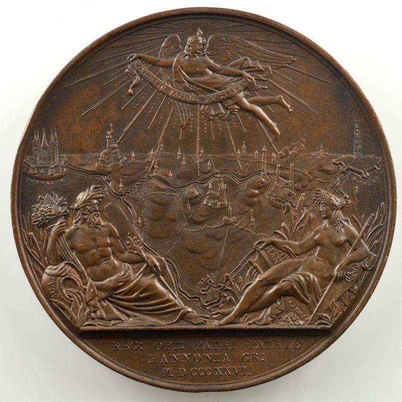 BRAEMT   Médaille en bronze   50mm   Ouverture du canal de Tournai à Mons   1826    SUP/FDC