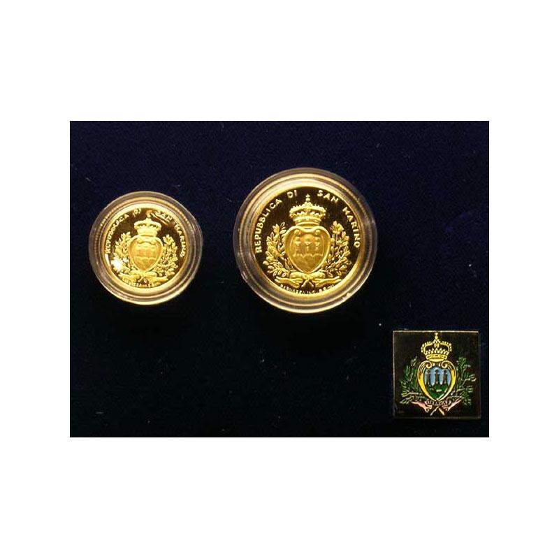 Coffret de 2 pièces   1 et 2 Scudi   1996    BE