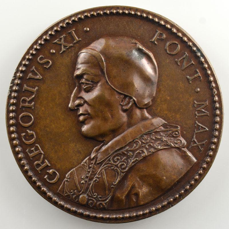 Grégoire XI (1370-1378)   médaille de restitution des Papes par Ferdinand de Saint-Urbain   bronze   40mm    SUP/FDC