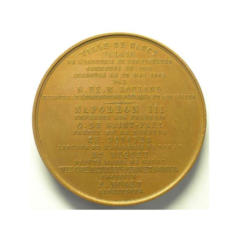 DANTZELL   Inauguration du Palais des Facultés 25-5-1862 cuivre    TTB/TTB+