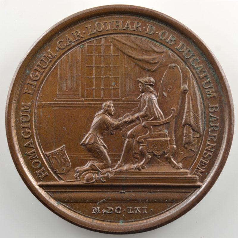 MAUGER   Charles IV rend hommage pour le Duché de Lorraine   1661   bronze   41mm    SUP