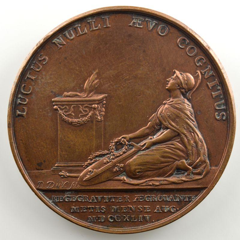 Maladie du Roi Louis XV à Metz   Médaille en bronze   41mm   août 1744    TTB+