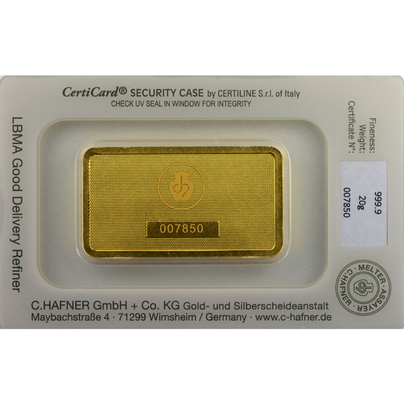 Lingotin 20 g or 999,9 mill.   C-HAFNER seit 1850  Germany    NEUF sous blister numéroté