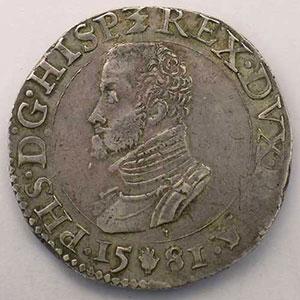 1/2 Ecu   Philippe II (1555-1598)   1581 Anvers    TTB
