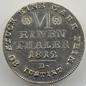 1/6 Thaler   1812 B  (Brunswick)    SUP/FDC