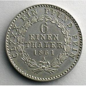 1/6 Thaler   1861 A    TTB+