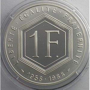 1 Franc   1988   37mm   22,2 g - Ag 900 mill.    BE