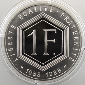 1 Franc   1988   37mm   22,2 g - Ag 900 mill.    BE