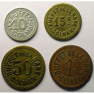 10 cent, 15 cent, 50 cent, 1 Franc    TB+/TTB