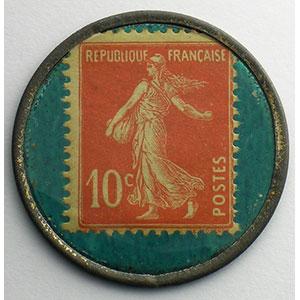 10 Cent  rouge/vert turquoise    TTB+