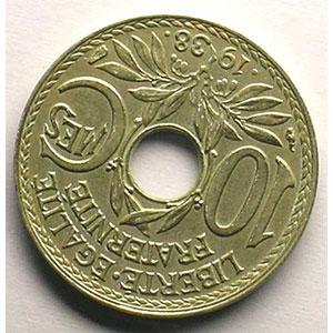 10 Centimes .1938.   coins tournés à 135° anti-horaire    TTB