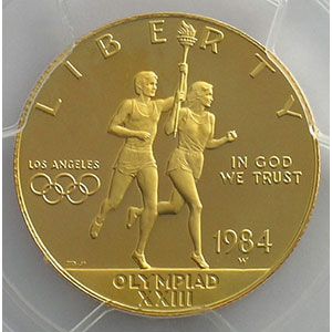 10 Dollars   Jeux Olympiques de Los Angeles   1984 W (West Point)    PCGS-PR68DCAM    BE