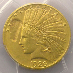 10 Dollars tête d'Indien   1926    PCGS-MINT ERROR-MS62    SUP/FDC