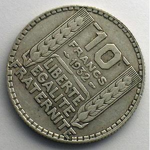 10 Francs   1932   coins tournés à 45° horaire    TB+/TTB