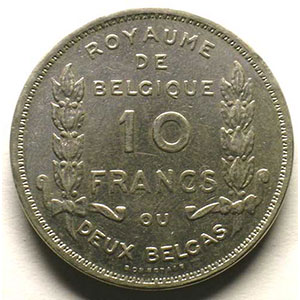 10 Francs - 2 Belgas   légende française   1930 pos.A    TTB