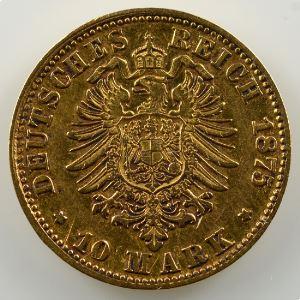 10 Mark   1875 H  (Darmstadt)    TB+