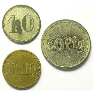 10 (Pf), 50 Pf, 10 Mk    TB+/TTB