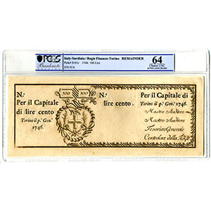 100 Lire   Regie Finanze-Torino   1-1-1746    SPL+    PCGS- Choice UNC64