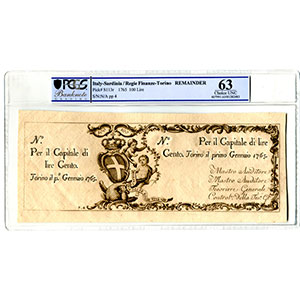 100 Lire   Regie Finanze-Torino   1-1-1765    SPL+    PCGS- Choice UNC63