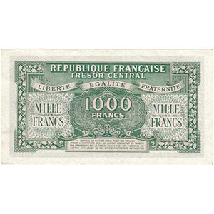 1000 Francs   imprssion anglaise   1945   séie A    NEUF