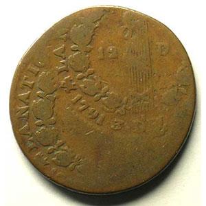 12 Deniers   1791   double frappe    B/TB