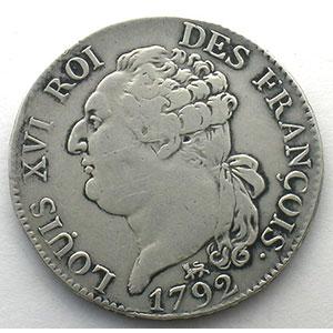 1792 A  (Paris)  2°sem.    TTB   nettoyée / cleaned