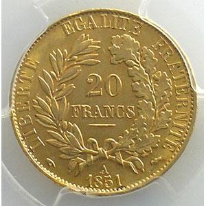1851 A  (Paris)    PCGS-MS61    SUP/FDC