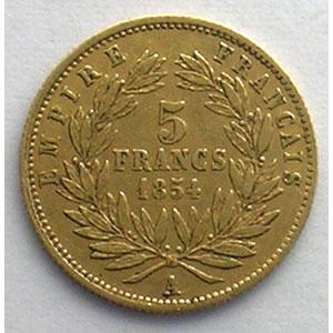 1854 A  (Paris)  tranche cannelée    TB+/TTB