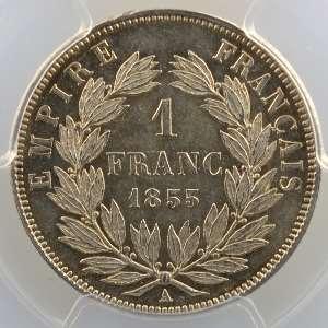 1855 A  (Paris)  chien-main    PCGS-MS62    SUP/FDC
