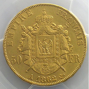 1862 A  6 sur 5  (Paris)    PCGS-AU55    TTB+/SUP