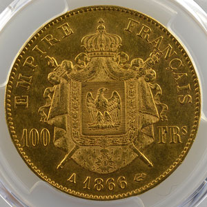1866 A  (Paris)    PCGS-AU58    SUP