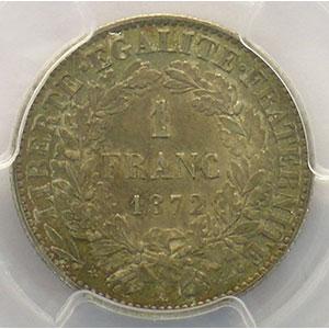 1872 petit A  (Paris)    PCGS-AU58    SUP