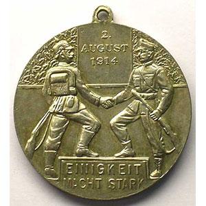 2 août 1914   argent   30mm    SUP