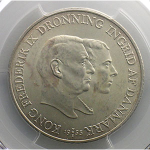 2 Kroner   1953  NS    PCGS-MS63    SUP/FDC